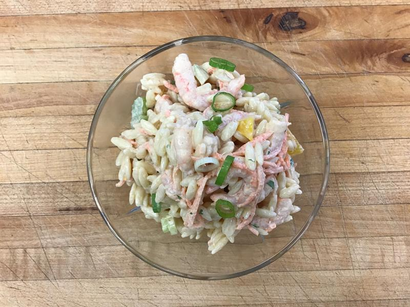 Salade d'orzo aux crevettes / Orzo and shrimp salad